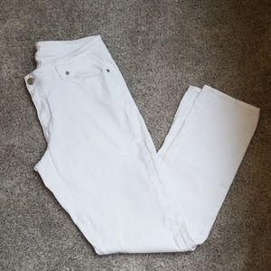 Loft Curvy Straight Tall white jeans.